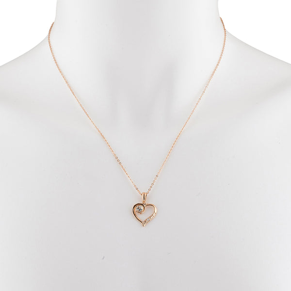 14Kt Rose Gold Plated Aquamarine & Diamond Heart Pendant