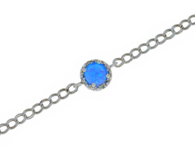 Blue Opal & Diamond Round Bracelet .925 Sterling Silver