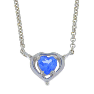 0.50 Ct Tanzanite Heart Pendant .925 Sterling Silver