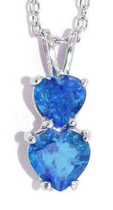 1.5 Ct London Blue Topaz Double Heart Pendant .925 Sterling Silver Rhodium Finish