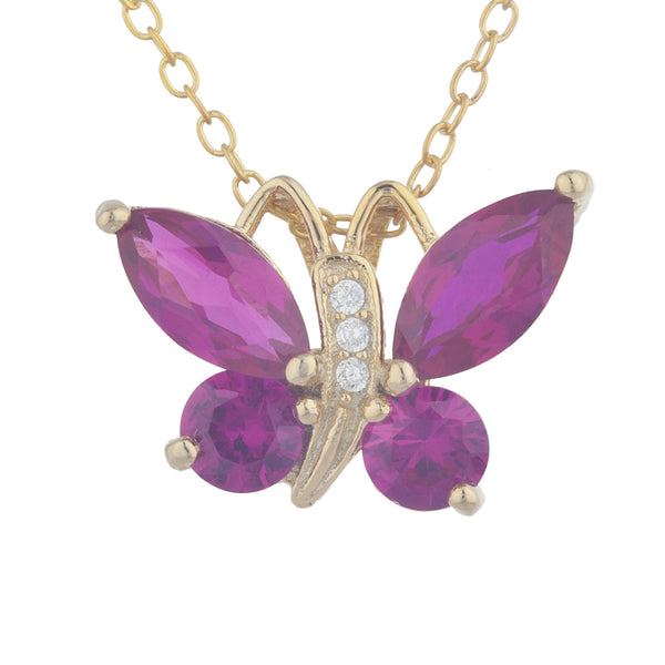 14Kt Yellow Gold Plated Created Ruby Butterfly Pendant
