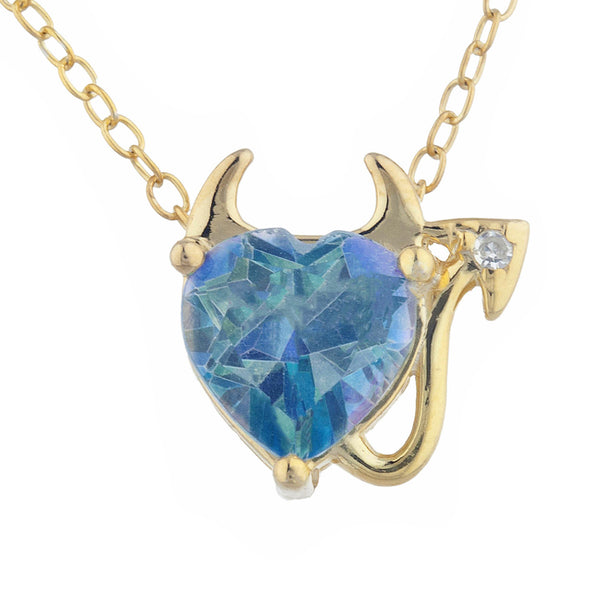 1.5 Ct Natural Blue Mystic Topaz & Diamond Devil Heart Pendant 14Kt Yellow Gold Silver