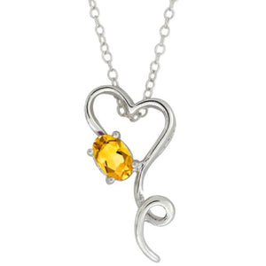 0.50 Ct Yellow Citrine Oval Heart Pendant .925 Sterling Silver Rhodium Finish