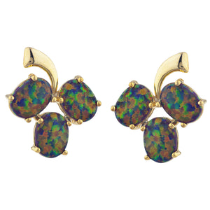 14Kt Yellow Gold Plated Black Opal Oval Design Stud Earrings