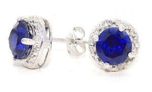 2 Ct Blue Sapphire Round Diamond Stud Earrings 14Kt White Gold