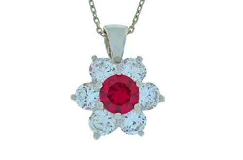 1.5 Ct Created Ruby & White Topaz Pendant .925 Sterling Silver Rhodium Finish