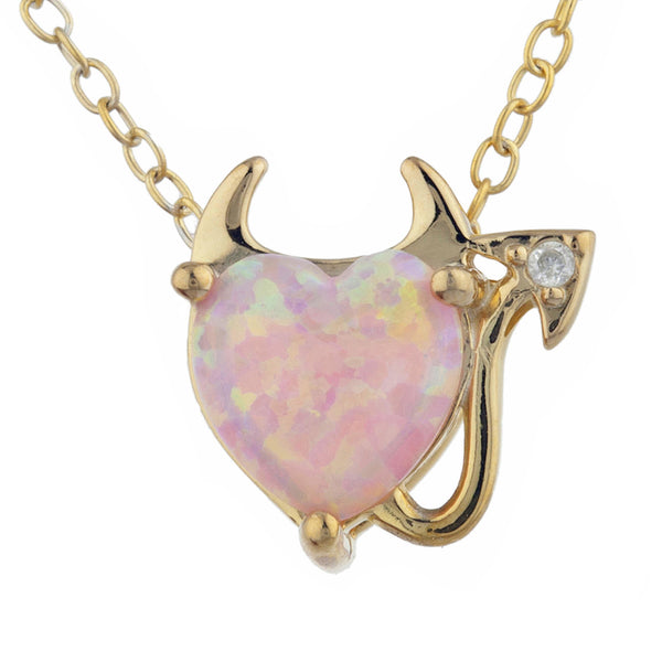 Pink Opal & Diamond Devil Heart Pendant 14Kt Yellow Gold Silver