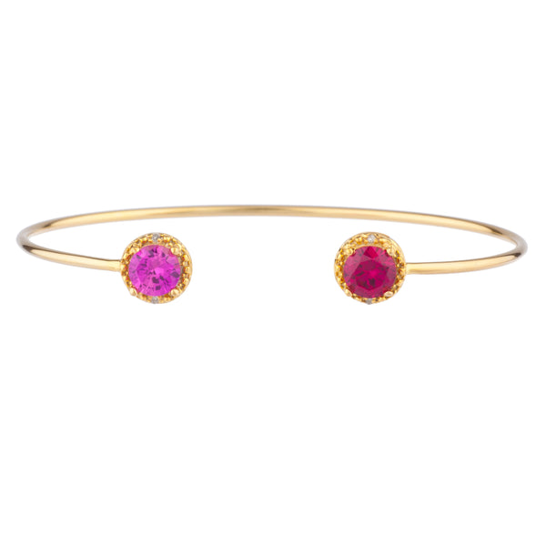 Pink Sapphire & Ruby Diamond Bangle Round Bracelet 14Kt Yellow Gold Plated Over .925 Sterling Silver
