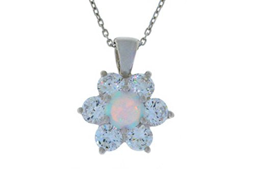 Opal & White Topaz Pendant .925 Sterling Silver Rhodium Finish