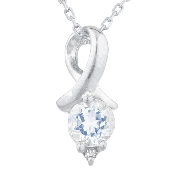 0.50 Ct Aquamarine & Diamond Round Design Pendant .925 Sterling Silver