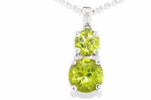 1.5 Ct Peridot Double Diamond Pendant .925 Sterling Silver Rhodium Finish