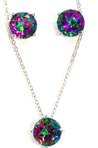 6 Carat Genuine Mystic Topaz Stud Earrings & Pendant Set .925 Sterling Silver...