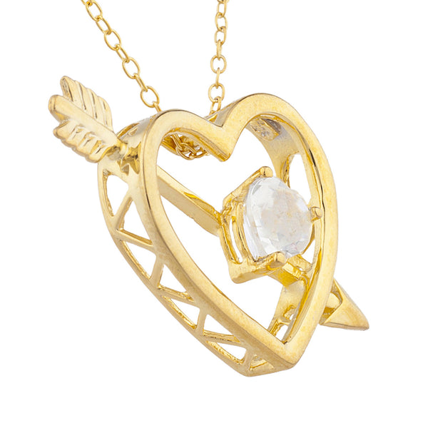 14Kt Yellow Gold Plated White Sapphire Heart Bow & Arrow Pendant
