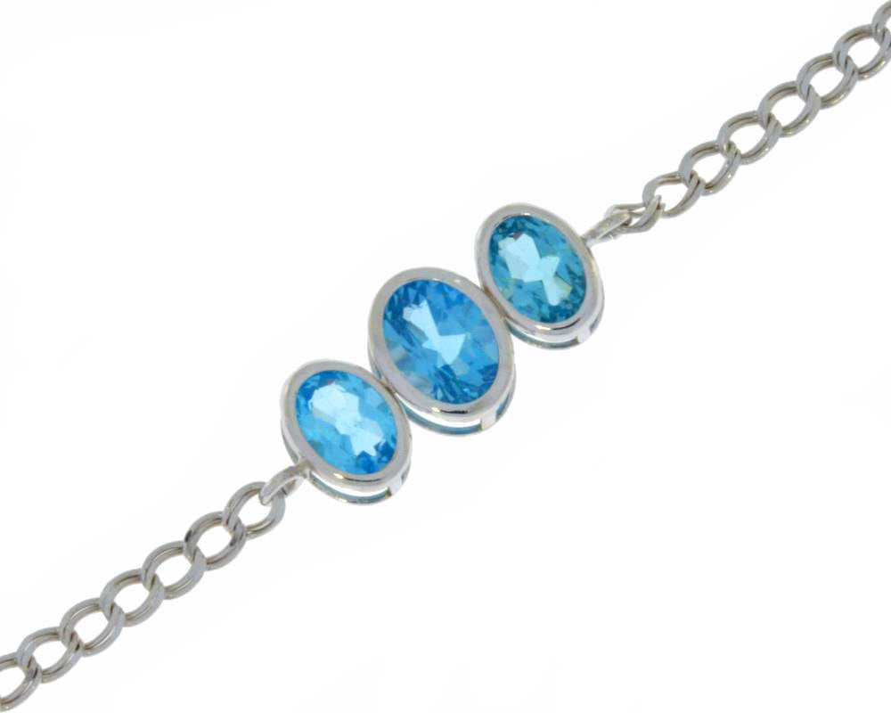 3.5 Ct Blue Topaz Oval Bezel Bracelet .925 Sterling Silver Rhodium Finish