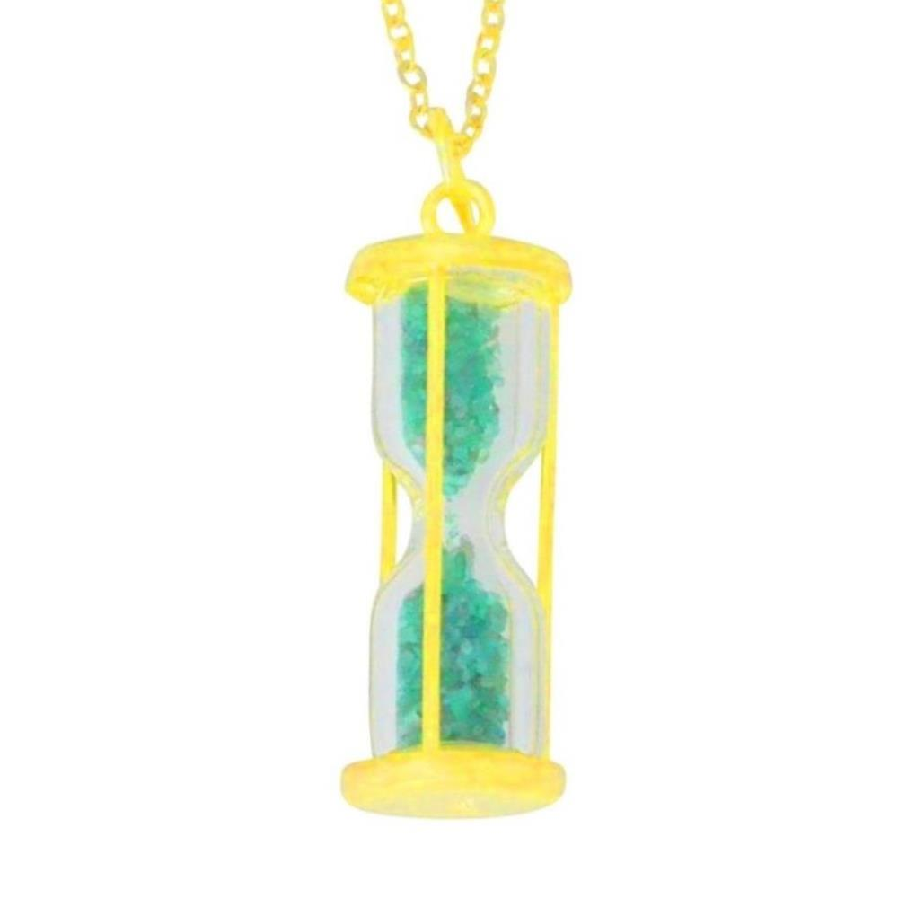 Natural Emerald 'Time in Bottle' Dust Hourglass Pendant 14Kt Yellow Gold Plated Over .925 Sterling Silver