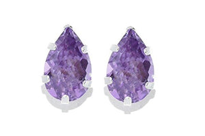 2 Carat Alexandrite Pear Shape Stud Earrings .925 Sterling Silver