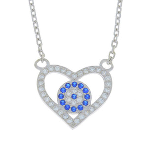 Evil Eye Blue & White CZ Heart Design Pendant .925 Sterling Silver