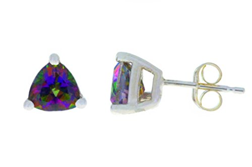 2 Ct Mystic Topaz Trillion Stud Earrings 14Kt White Gold