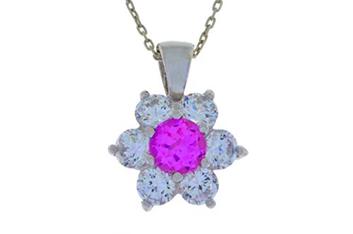 1.5 Ct Pink Sapphire & White Topaz Pendant .925 Sterling Silver Rhodium Finish