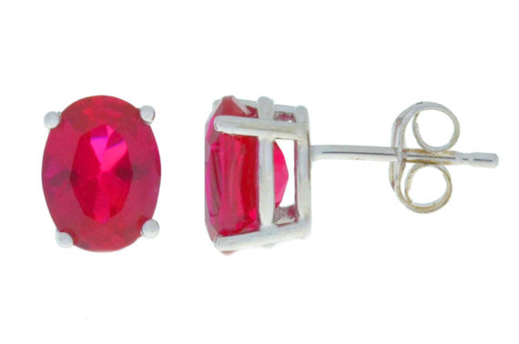 14Kt White Gold Created Ruby Oval Stud Earrings