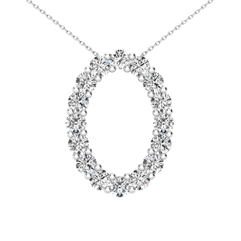 14Kt White Gold 0.36 Ct Genuine Natural Diamond Open Oval Design Pendant Necklace