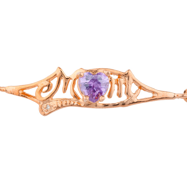 Amethyst & Diamond Heart Mom Bracelet 14Kt Rose Gold Plated Over .925 Sterling Silver