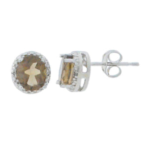 2 Ct Natural Smoky Quartz & Diamond Round Stud Earrings 14Kt White Gold