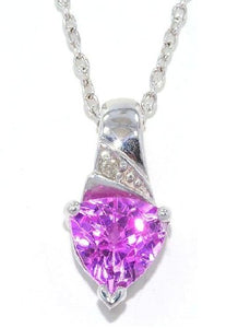 1.5 Ct Pink Sapphire Trillion Diamond Pendant .925 Sterling Silver Rhodium Finish