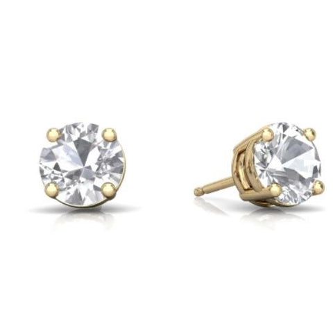 2 Ct White Sapphire Round Stud Earrings 14Kt Yellow Gold