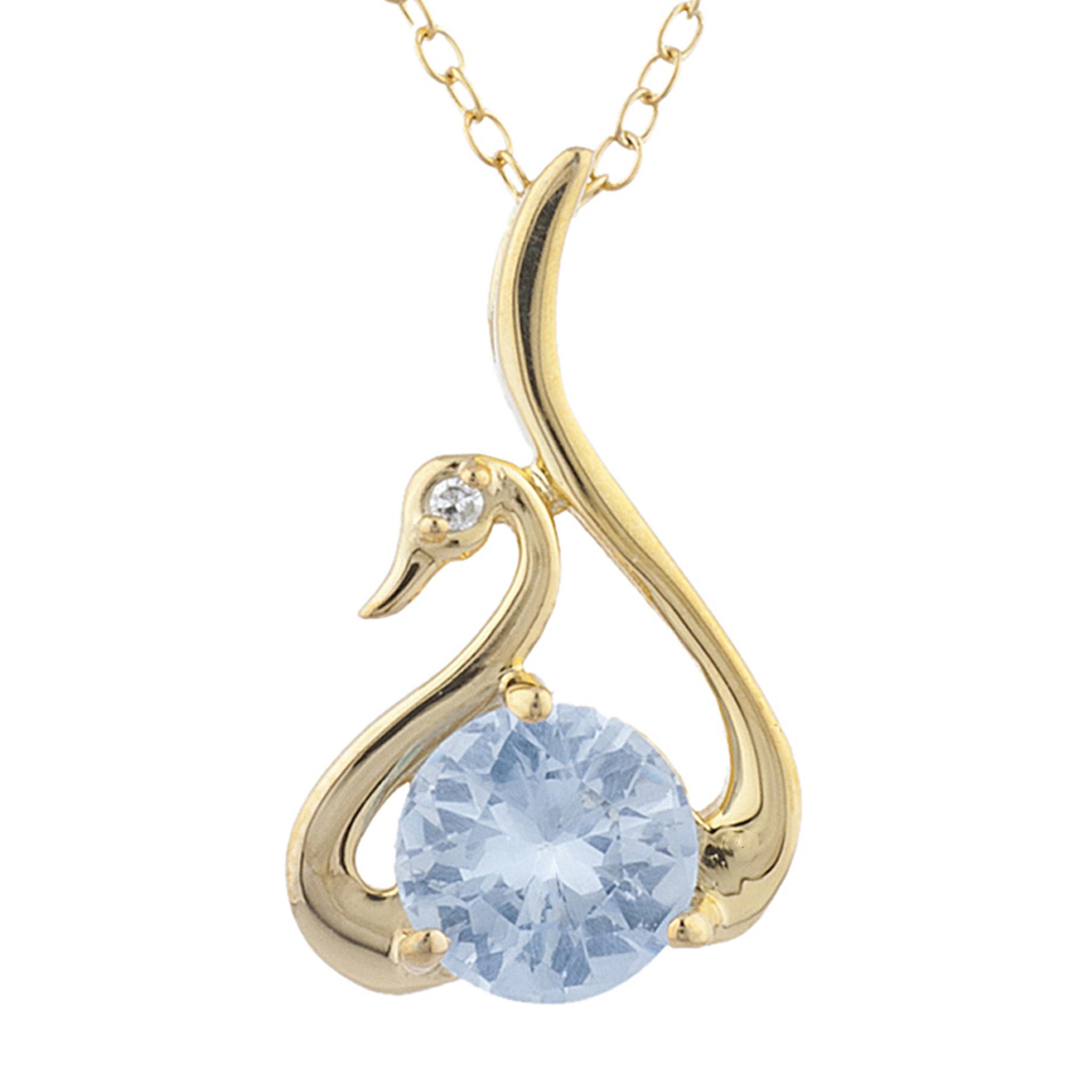 14Kt Yellow Gold Plated Genuine Aquamarine & Diamond Swan Pendant