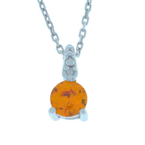 0.50 Ct Citrine & Diamond Round Pendant .925 Sterling Silver Rhodium Finish