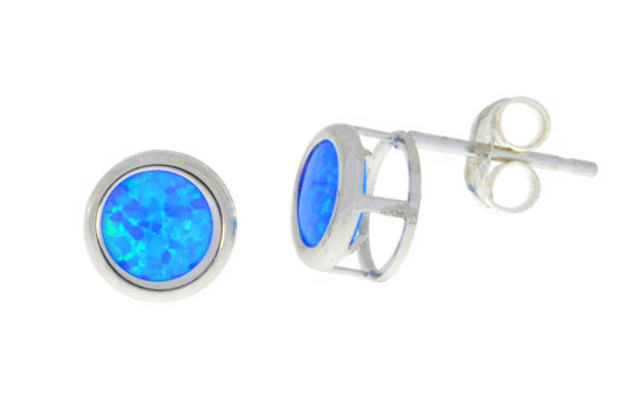 Blue Opal Round Bezel Stud Earrings .925 Sterling Silver