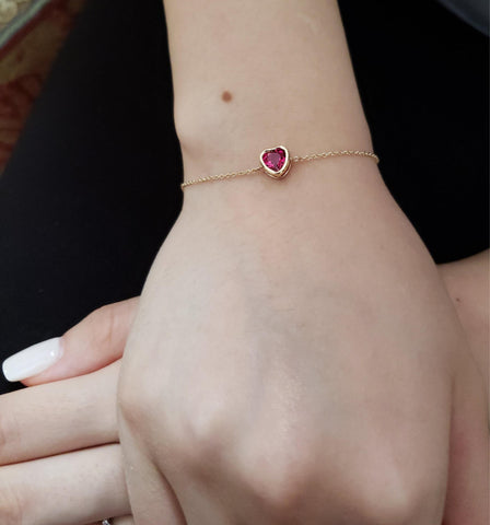14Kt Gold Ruby Heart Bezel Bracelet