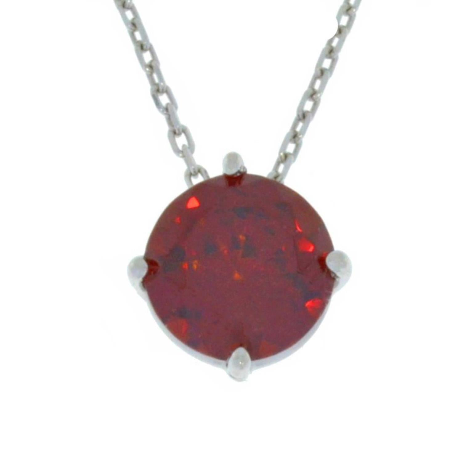 14Kt Gold Garnet Round Pendant Necklace