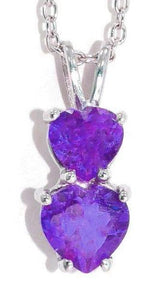 1.5 Ct Alexandrite Double Heart Pendant .925 Sterling Silver Rhodium Finish