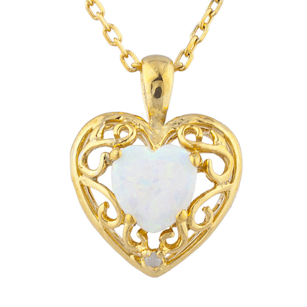 14Kt Yellow Gold Plated Opal & Diamond Love Design Heart Pendant