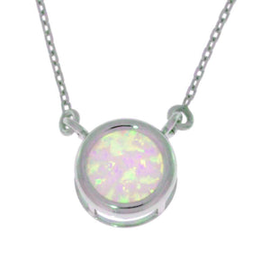 Pink Opal Round Bezel Pendant .925 Sterling Silver Rhodium Finish