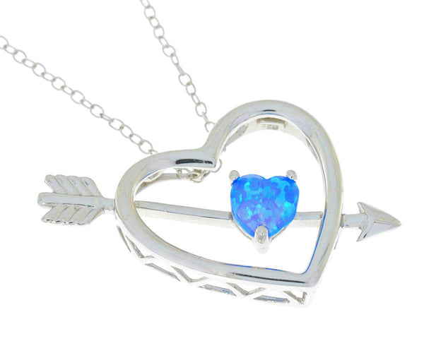 Blue Opal Heart Bow & Arrow Pendant .925 Sterling Silver Rhodium Finish