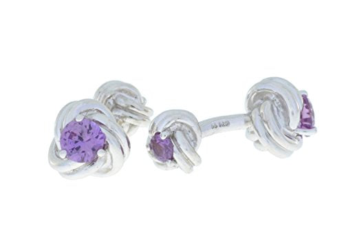 2.5 Ct Alexandrite Knot Cufflinks .925 Sterling Silver Rhodium Finish [Jewelry]