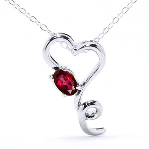0.50 Ct Created Ruby Oval Heart Pendant .925 Sterling Silver Rhodium Finish