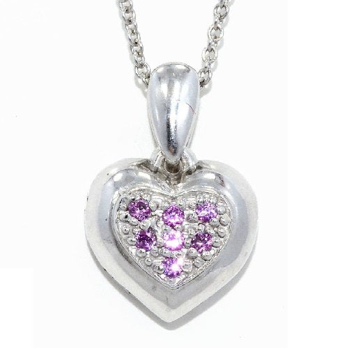 Pink Sapphire Always & Forever Engraved Heart Pendant .925 Sterling Silver Rhodium Finish