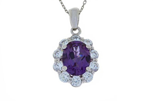 4 Ct Alexandrite & White Topaz Oval Pendant .925 Sterling Silver Rhodium Finish