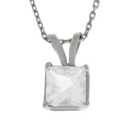 14Kt Gold Zirconia Princess Cut Pendant Necklace