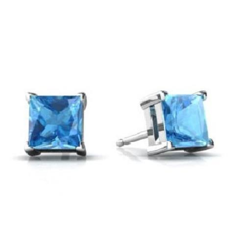 2 Ct Blue Topaz Princess Cut Stud Earrings 14Kt White Gold