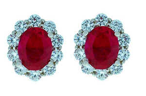 8 Ct Created Ruby & Zirconia Oval Stud Earrings .925 Sterling Silver