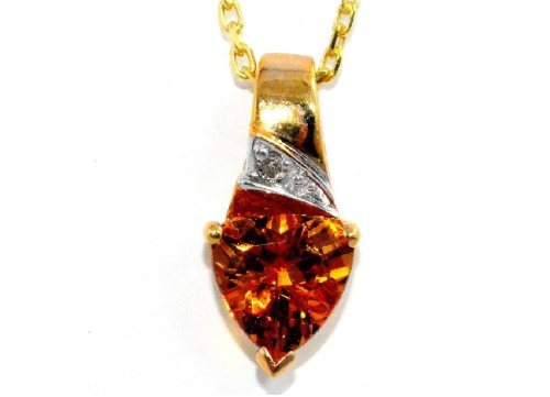 1.5 Ct Citrine Trillion Diamond Pendant 14Kt Yellow Gold Plated Over .925 Sterling Silver