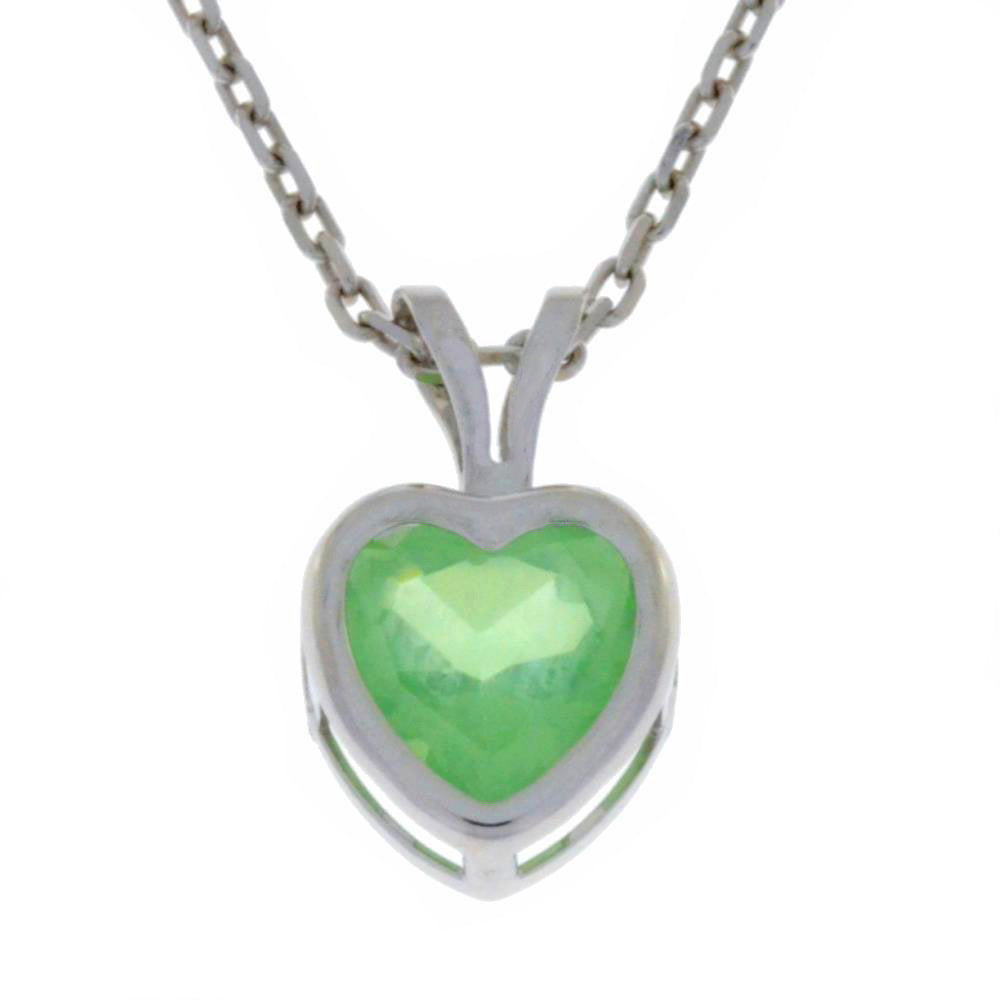 1 Ct Green Sapphire Heart Bezel Pendant .925 Sterling Silver Rhodium Finish