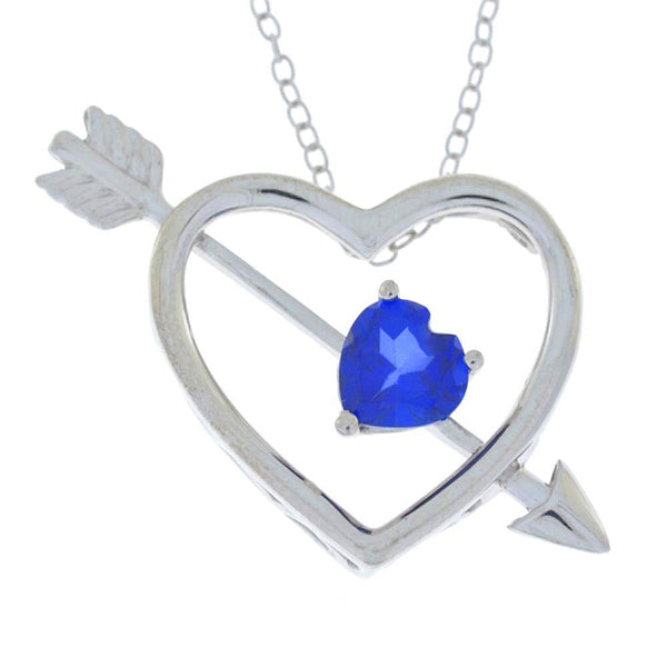 Blue Sapphire Heart Bow & Arrow Pendant .925 Sterling Silver Rhodium Finish