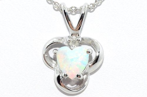 Opal Heart Diamond Pendant .925 Sterling Silver Rhodium Finish