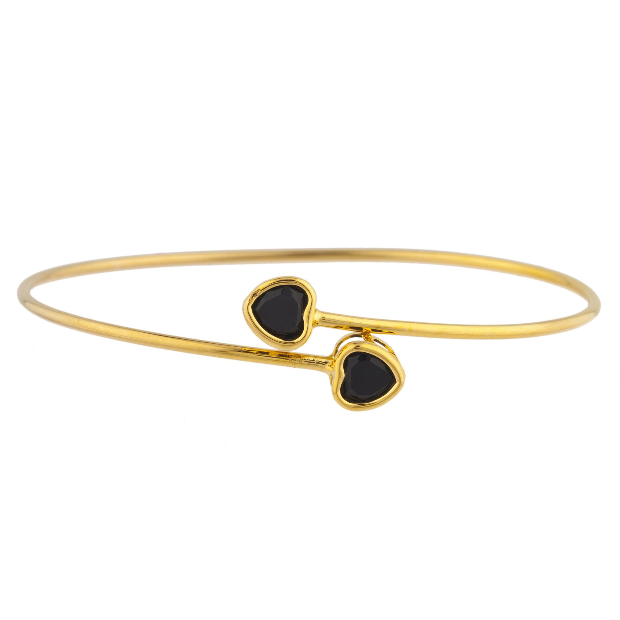 14Kt Yellow Gold Plated Genuine Black Onyx Heart Bezel Bangle Bracelet